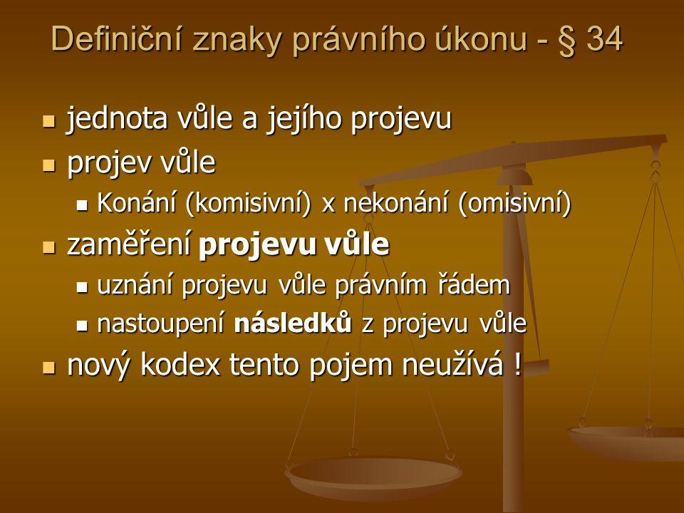 Definiční znaky právního úkonu - § 34 jednota vůle a jejího projevu jednota vůle a jejího projevu projev vůle projev vůle Konání (komisivní) x nekonán