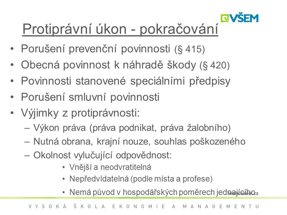 Protiprávní úkon - pokračování Porušení prevenční povinnosti (§ 415) Obecná povinnost k náhradě škody (§ 420) Povinnosti stanovené speciálními předpis