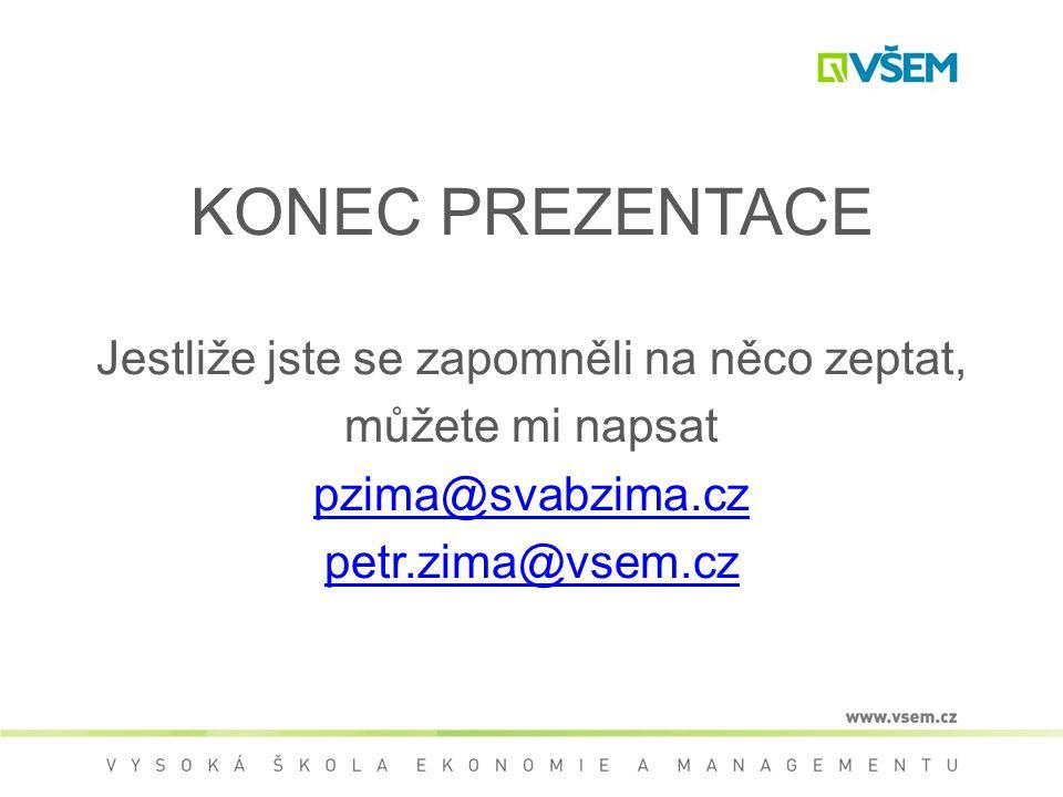 KONEC PREZENTACE Jestliže jste se zapomněli na něco zeptat, můžete mi napsat pzima@svabzima.cz petr.zima@vsem.cz