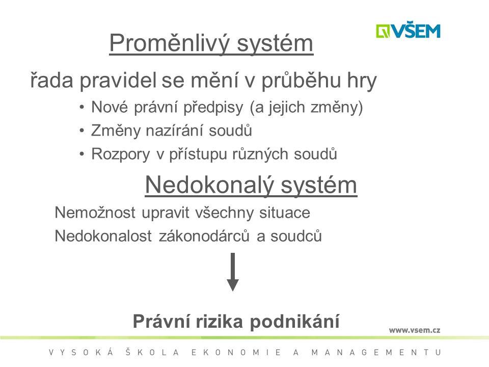 Proměnlivý systém řada pravidel se mění v průběhu hry Nové právní předpisy (a jejich změny) Změny nazírání soudů Rozpory v přístupu různých soudů Nedo