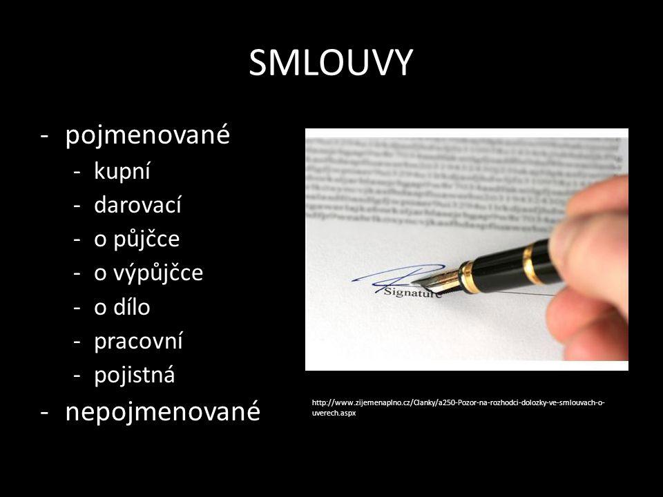 SMLOUVY -pojmenované -kupní -darovací -o půjčce -o výpůjčce -o dílo -pracovní -pojistná -nepojmenované http://www.zijemenaplno.cz/Clanky/a250-Pozor-na