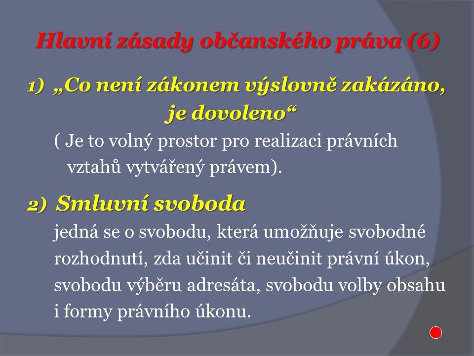 """Hlavní zásady občanského práva (6) 1) """"Co není zákonem výslovně zakázáno, je dovoleno je dovoleno ( Je to volný prostor pro realizaci právních vztahů vytvářený právem)."""