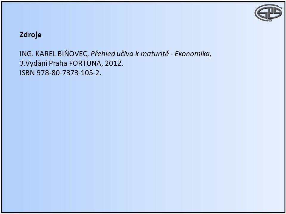 Zdroje ING. KAREL BIŇOVEC, Přehled učiva k maturitě - Ekonomika, 3.Vydání Praha FORTUNA, 2012.