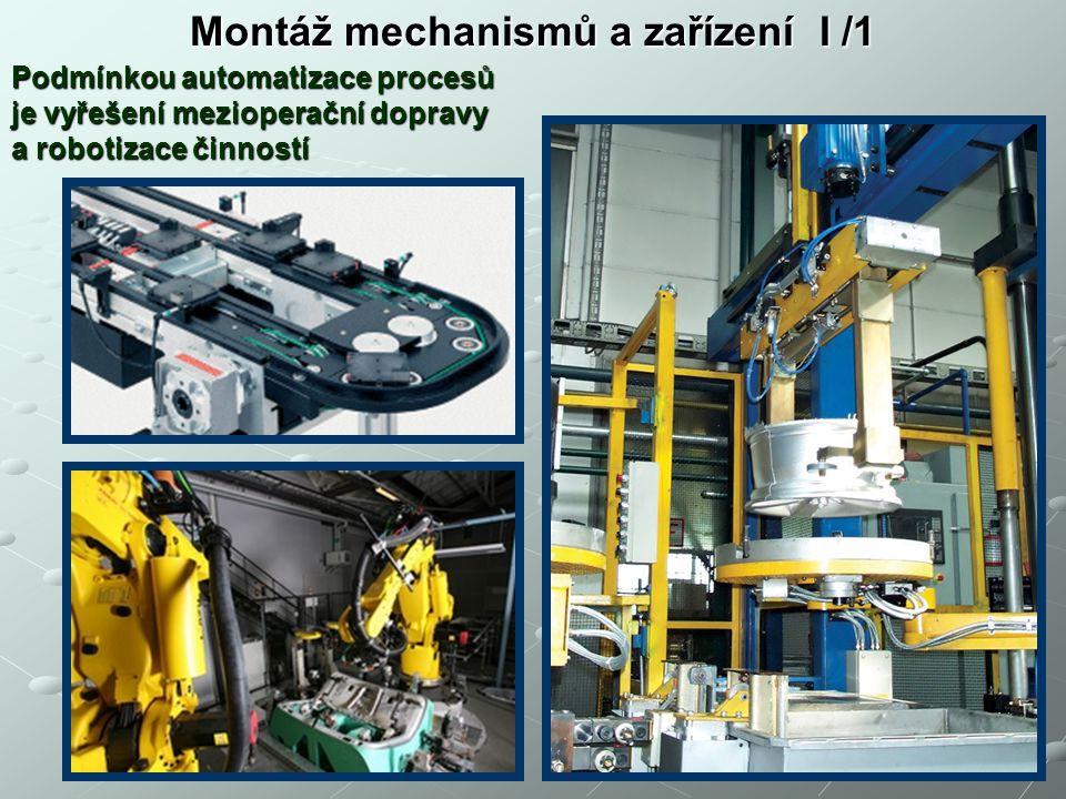 Montáž mechanismů a zařízení I /1 Podmínkou automatizace procesů je vyřešení mezioperační dopravy a robotizace činností