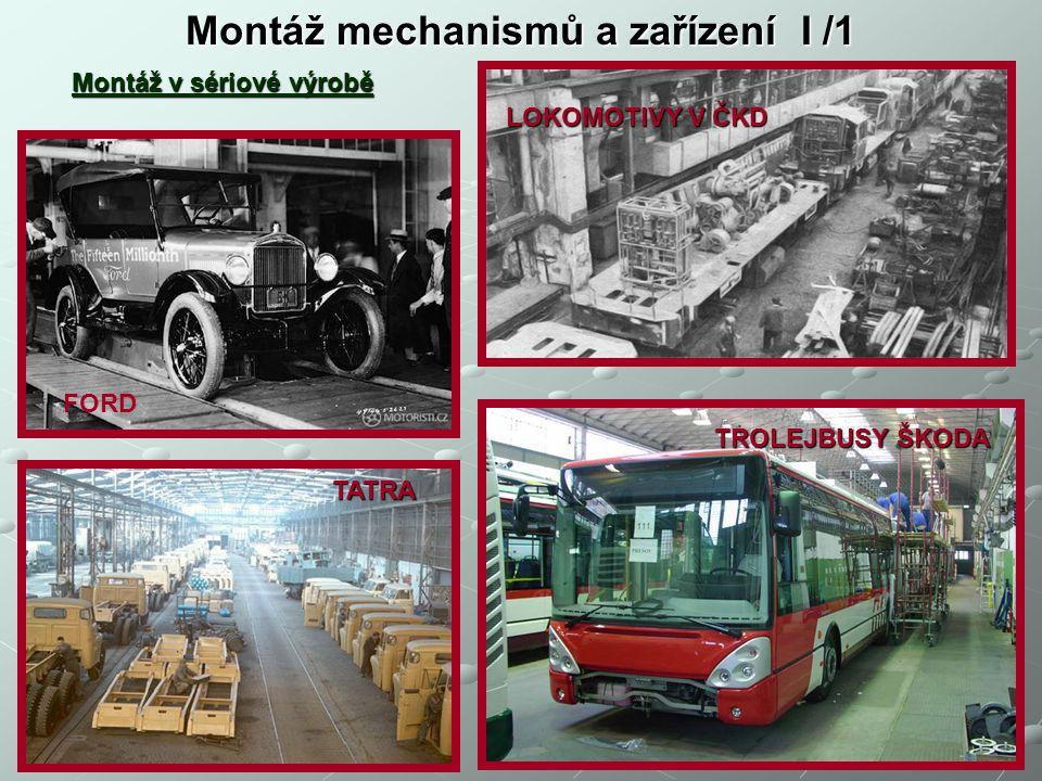 Montáž mechanismů a zařízení I /1 Montáž v sériové výrobě FORD TATRA LOKOMOTIVY V ČKD TROLEJBUSY ŠKODA