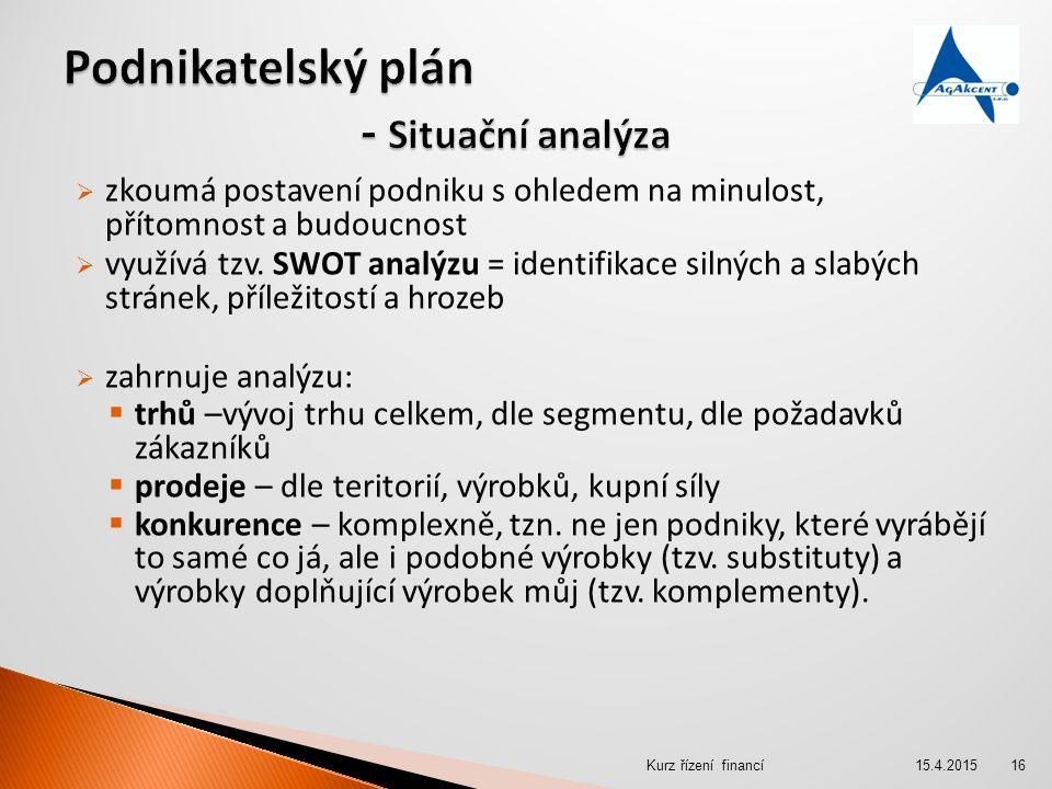  zkoumá postavení podniku s ohledem na minulost, přítomnost a budoucnost  využívá tzv. SWOT analýzu = identifikace silných a slabých stránek, přílež