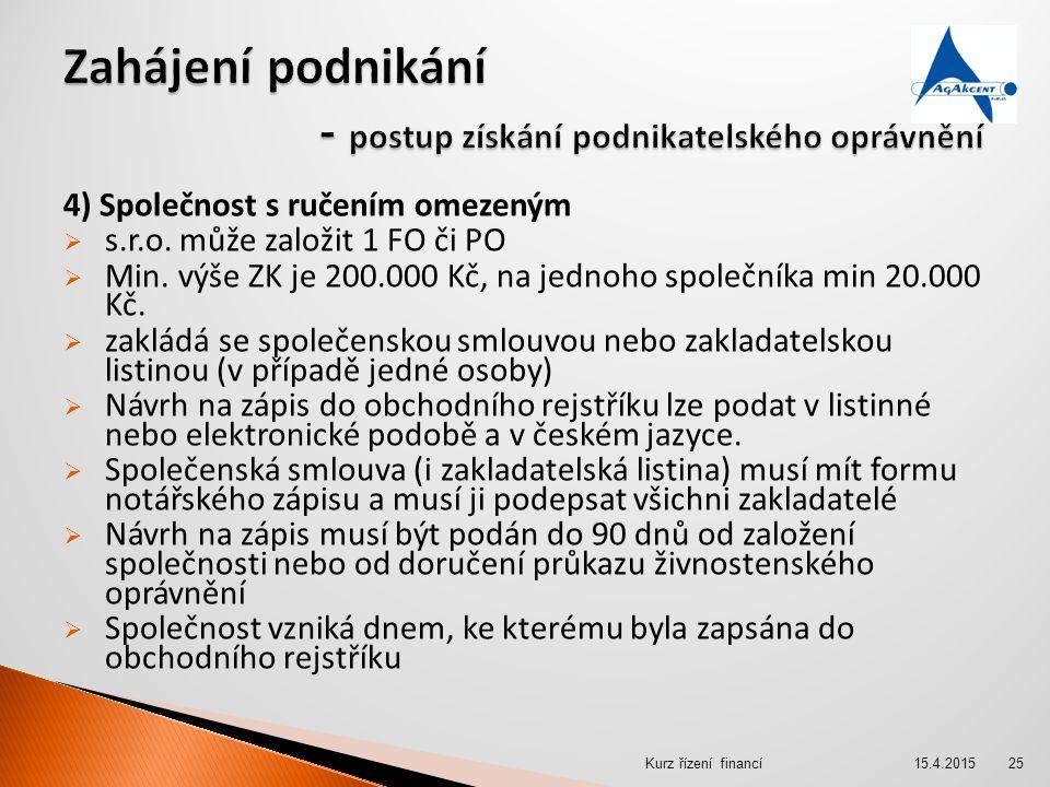 4) Společnost s ručením omezeným  s.r.o. může založit 1 FO či PO  Min. výše ZK je 200.000 Kč, na jednoho společníka min 20.000 Kč.  zakládá se spol