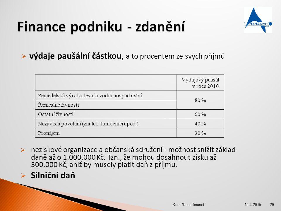  výdaje paušální částkou, a to procentem ze svých příjmů Výdajový paušál v roce 2010 Zemědělská výroba, lesní a vodní hospodářství 80 % Řemeslné živn