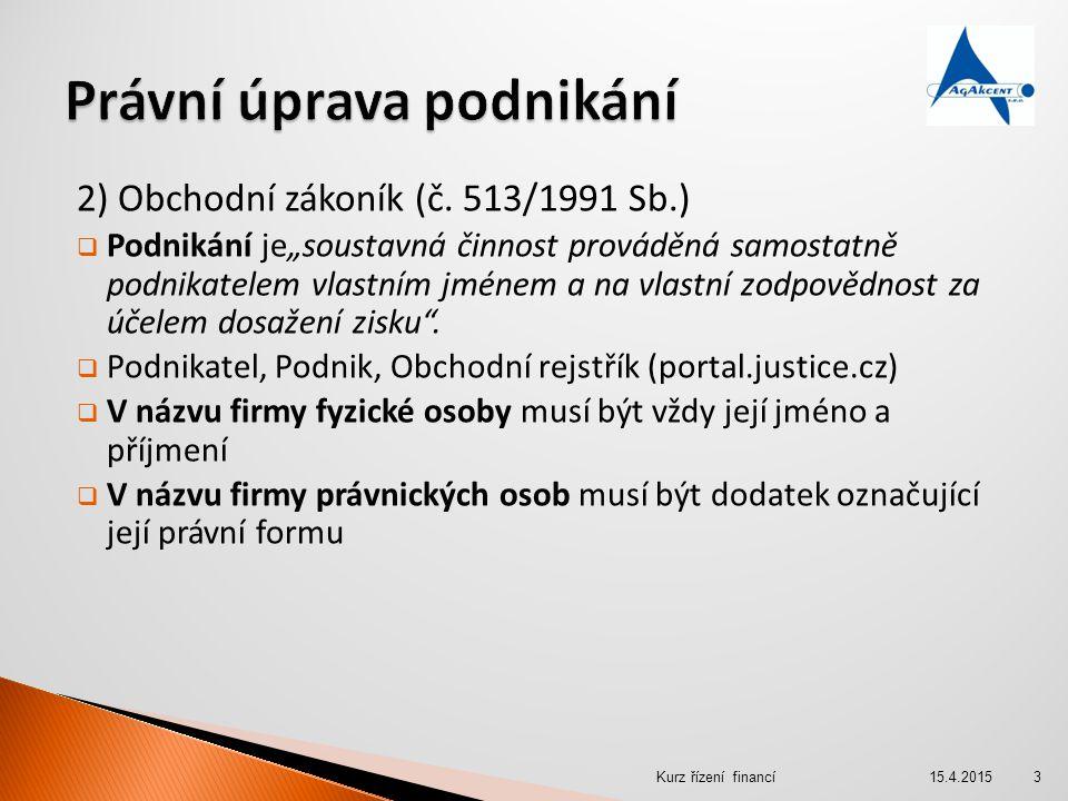 2) Veřejná obchodní společnost  Zakládá se společenskou smlouvou  Návrh na zápis do obchodního rejstříku v listinné nebo elektronické podobě, a v českém jazyce  Společenská smlouva musí mít formu notářského zápisu a musí ji podepsat všichni společníci 15.4.2015Kurz řízení financí24