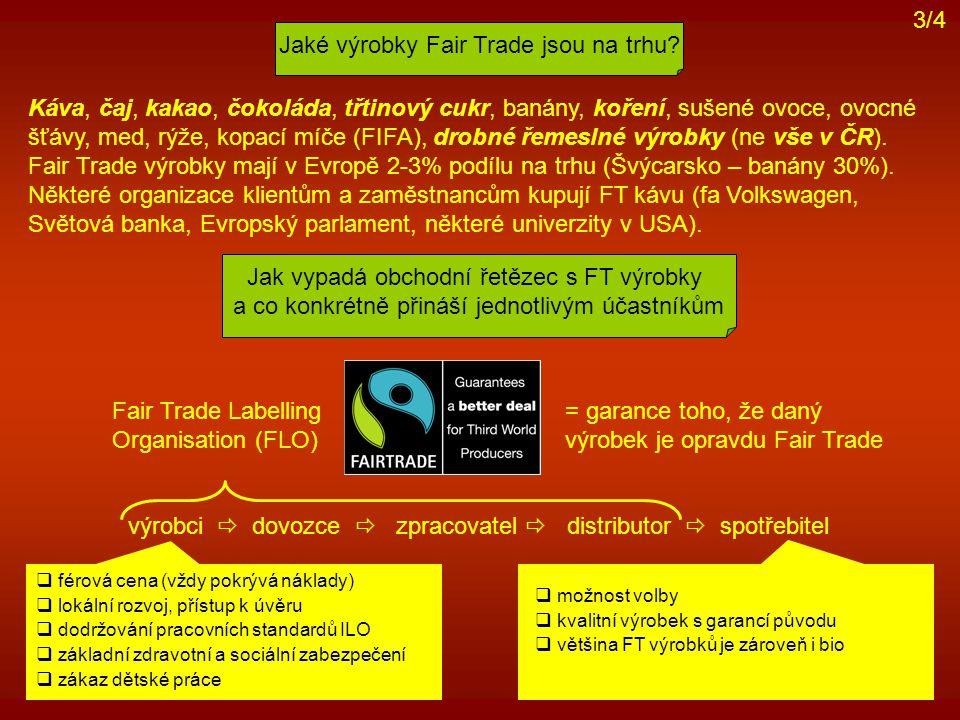 Jaké výrobky Fair Trade jsou na trhu? Jak vypadá obchodní řetězec s FT výrobky a co konkrétně přináší jednotlivým účastníkům Káva, čaj, kakao, čokolád