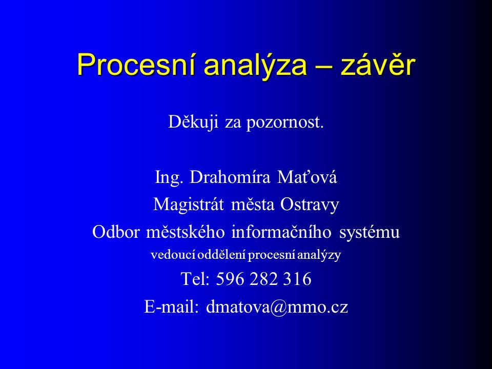 Procesní analýza – závěr Děkuji za pozornost.Ing.