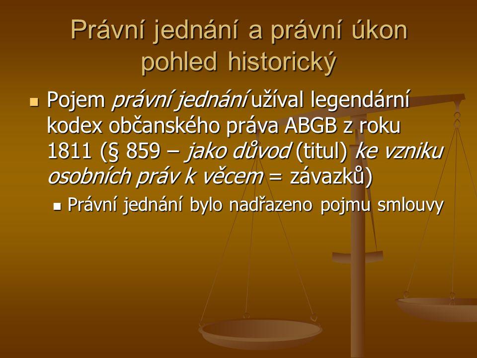 Právní jednání a právní úkon pohled historický Pojem právní jednání užíval legendární kodex občanského práva ABGB z roku 1811 (§ 859 – jako důvod (titul) ke vzniku osobních práv k věcem = závazků) Pojem právní jednání užíval legendární kodex občanského práva ABGB z roku 1811 (§ 859 – jako důvod (titul) ke vzniku osobních práv k věcem = závazků) Právní jednání bylo nadřazeno pojmu smlouvy Právní jednání bylo nadřazeno pojmu smlouvy