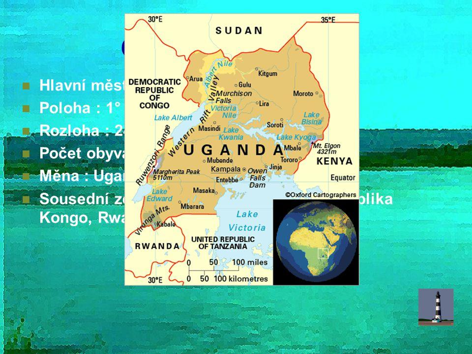 Obecné informace Hlavní město : Kampala Poloha : 1° – 4°S; 29°- 35° V Rozloha : 241 038 km² Počet obyvatel : 30 262 000 Měna : Ugandský šilink (100 UG