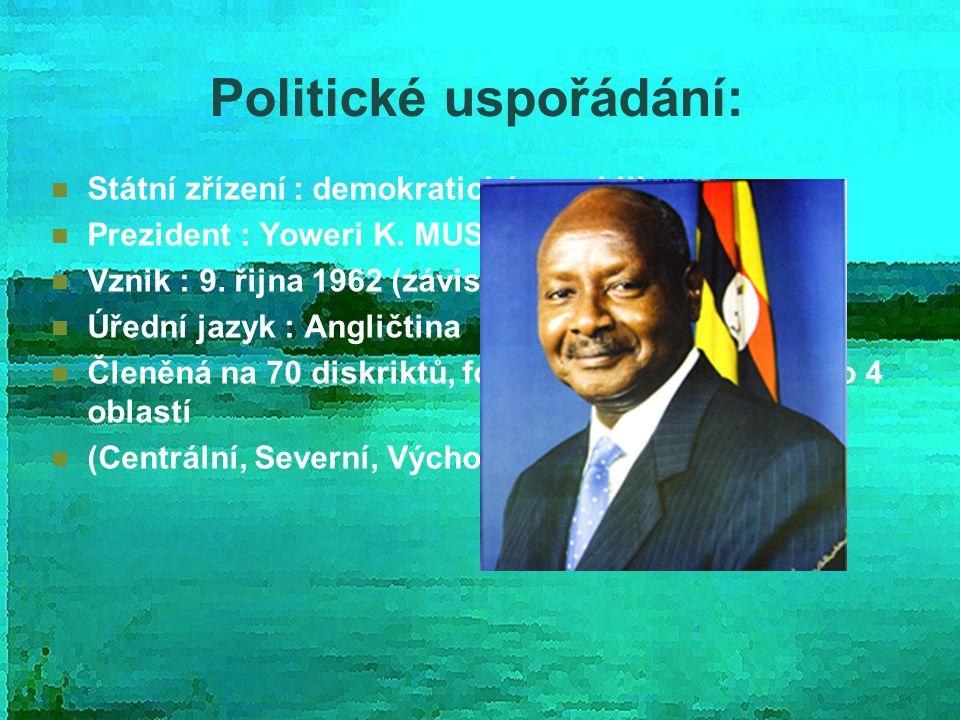 Politické uspořádání: Státní zřízení : demokratická republika Prezident : Yoweri K. MUSEVENI Vznik : 9. řijna 1962 (závislost na VB) Úřední jazyk : An