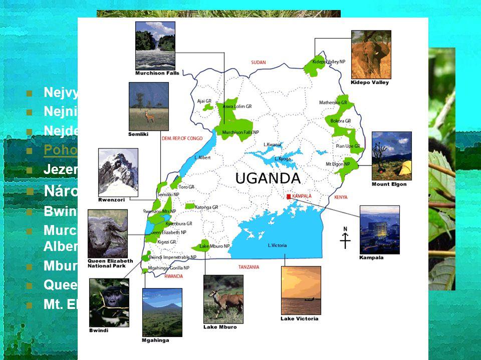 Přírodní zajímavosti Nejvyšší hora: Margherita/Ngaliema - 5109 m n. m Nejnižší bod: jezero Albert - 261 km Nejdelší řeka: Nil (v zemi 850 km) Pohoří R