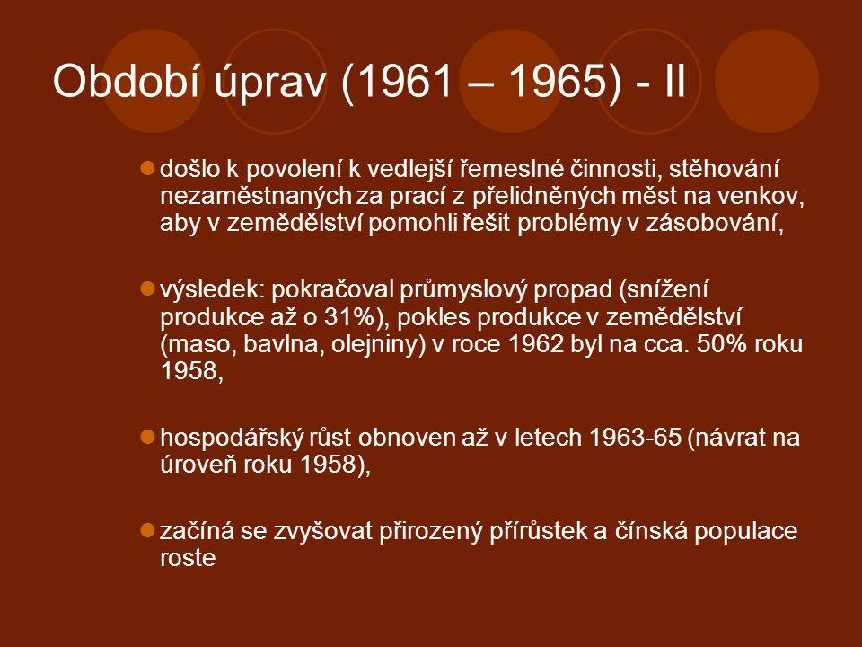 Období úprav (1961 – 1965) - II došlo k povolení k vedlejší řemeslné činnosti, stěhování nezaměstnaných za prací z přelidněných měst na venkov, aby v