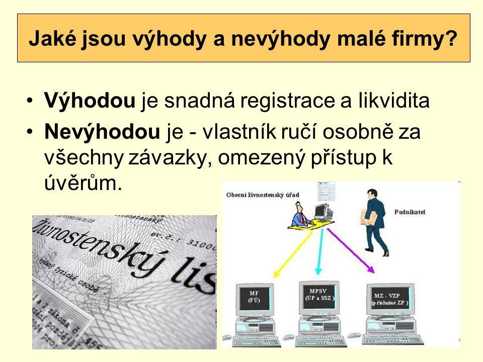 Výhodou je snadná registrace a likvidita Nevýhodou je - vlastník ručí osobně za všechny závazky, omezený přístup k úvěrům.