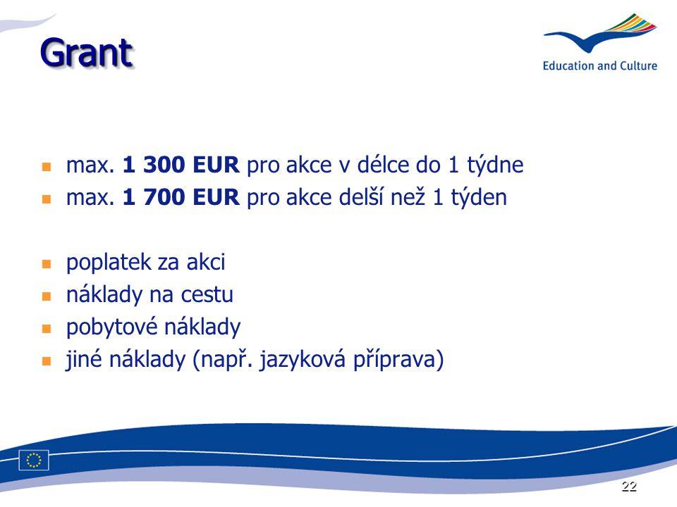 22 GrantGrant max. 1 300 EUR pro akce v délce do 1 týdne max. 1 700 EUR pro akce delší než 1 týden poplatek za akci náklady na cestu pobytové náklady