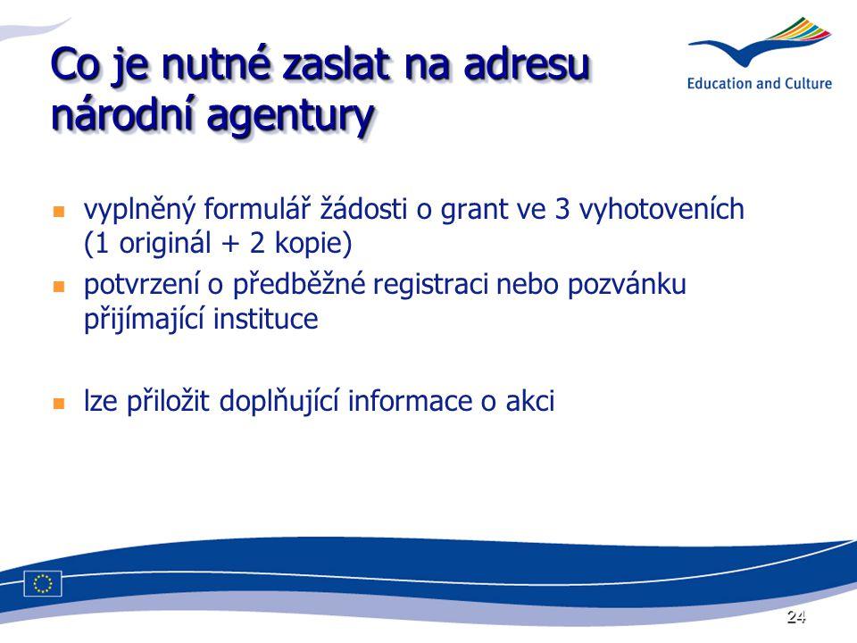 24 Co je nutné zaslat na adresu národní agentury vyplněný formulář žádosti o grant ve 3 vyhotoveních (1 originál + 2 kopie) potvrzení o předběžné registraci nebo pozvánku přijímající instituce lze přiložit doplňující informace o akci