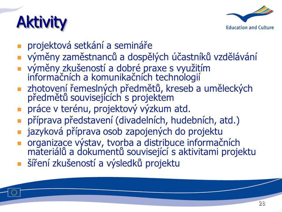 28 AktivityAktivity projektová setkání a semináře výměny zaměstnanců a dospělých účastníků vzdělávání výměny zkušeností a dobré praxe s využitím infor