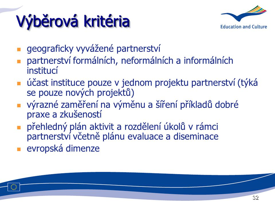 32 Výběrová kritéria geograficky vyvážené partnerství partnerství formálních, neformálních a informálních institucí účast instituce pouze v jednom projektu partnerství (týká se pouze nových projektů) výrazné zaměření na výměnu a šíření příkladů dobré praxe a zkušeností přehledný plán aktivit a rozdělení úkolů v rámci partnerství včetně plánu evaluace a diseminace evropská dimenze