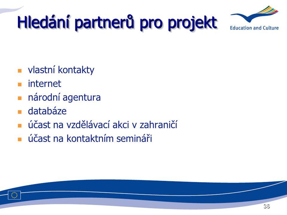 36 Hledání partnerů pro projekt vlastní kontakty internet národní agentura databáze účast na vzdělávací akci v zahraničí účast na kontaktním semináři