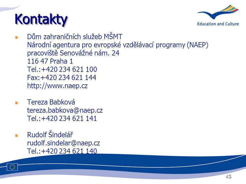 43 KontaktyKontakty Dům zahraničních služeb MŠMT Národní agentura pro evropské vzdělávací programy (NAEP) pracoviště Senovážné nám. 24 116 47 Praha 1