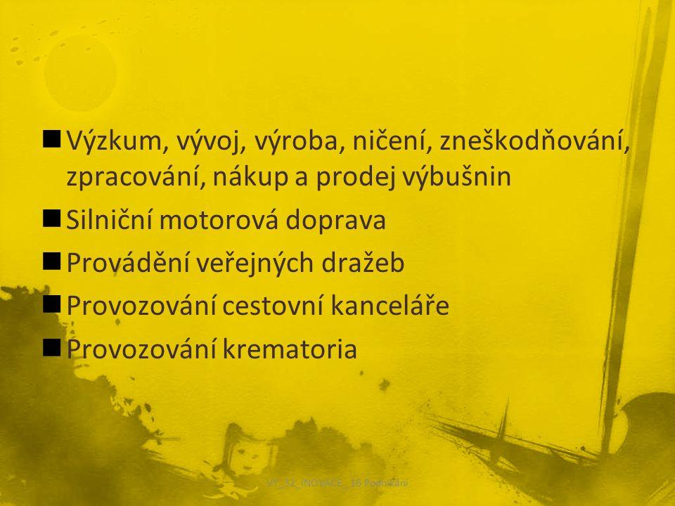 Výzkum, vývoj, výroba, ničení, zneškodňování, zpracování, nákup a prodej výbušnin Silniční motorová doprava Provádění veřejných dražeb Provozování cestovní kanceláře Provozování krematoria VY_32_INOVACE_ 16 Podnikání