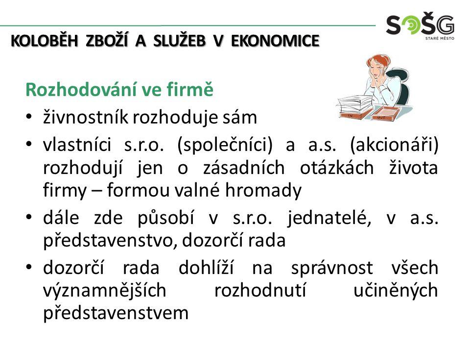 KOLOBĚH ZBOŽÍ A SLUŽEB V EKONOMICE Rozhodování ve firmě živnostník rozhoduje sám vlastníci s.r.o.