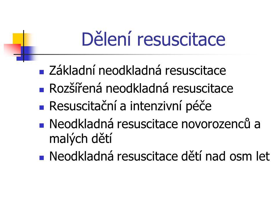 Abeceda resuscitace A (airway)průchodnost dýchacích cest B (brething)umělé dýchání C (circulation)umělý krevní oběh D (drugs)podání léků ECG (ElectroCardioGraf) monitorace, sledování EKG křivky F (fibrillation treatment)defibrilace mechanickáprekordiální úder elektrická pomocí defibrilátoru