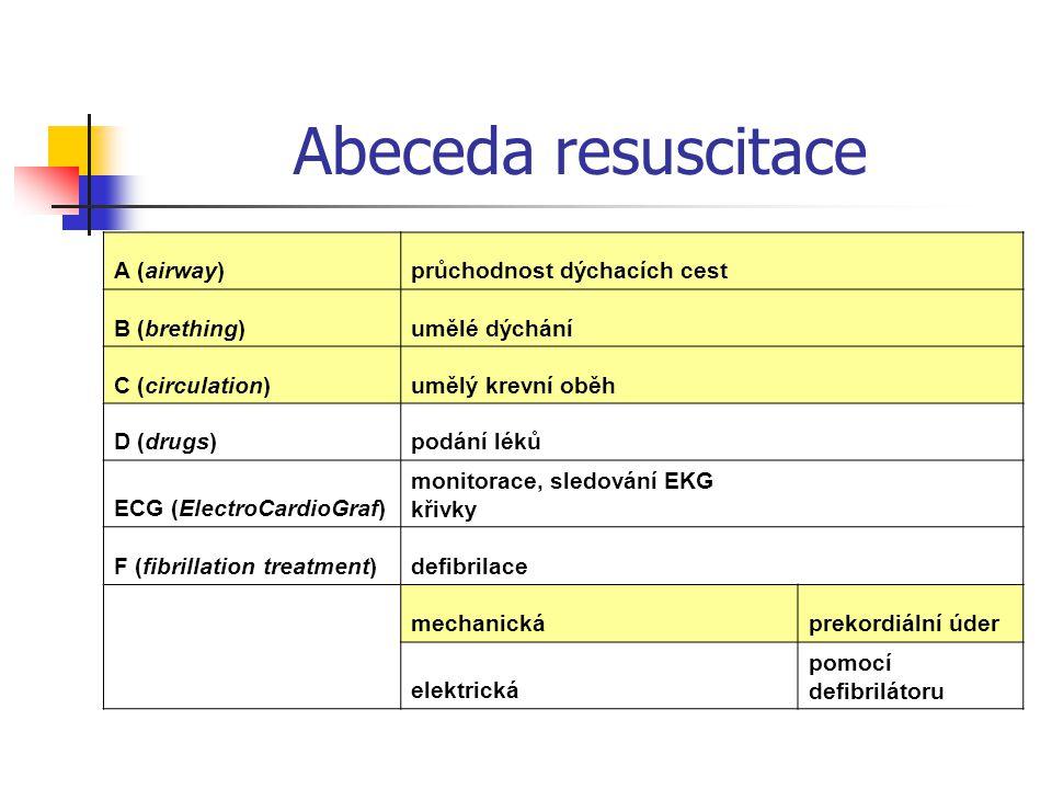 Abeceda resuscitace A (airway)průchodnost dýchacích cest B (brething)umělé dýchání C (circulation)umělý krevní oběh D (drugs)podání léků ECG (ElectroC