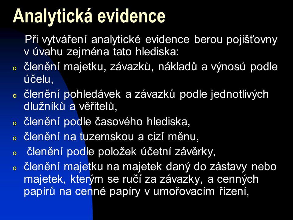 Analytická evidence Při vytváření analytické evidence berou pojišťovny v úvahu zejména tato hlediska: o členění majetku, závazků, nákladů a výnosů pod