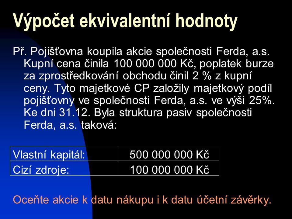 Výpočet ekvivalentní hodnoty Př. Pojišťovna koupila akcie společnosti Ferda, a.s. Kupní cena činila 100 000 000 Kč, poplatek burze za zprostředkování