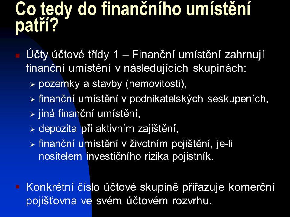 Co tedy do finančního umístění patří? Účty účtové třídy 1 – Finanční umístění zahrnují finanční umístění v následujících skupinách:  pozemky a stavby