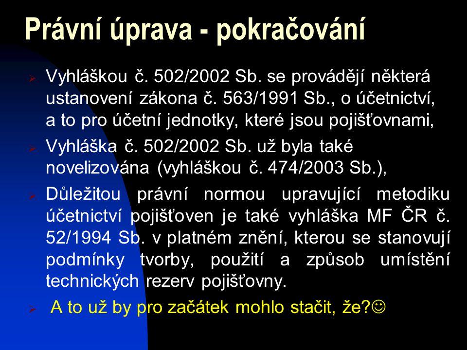 Právní úprava - pokračování  Vyhláškou č.502/2002 Sb.