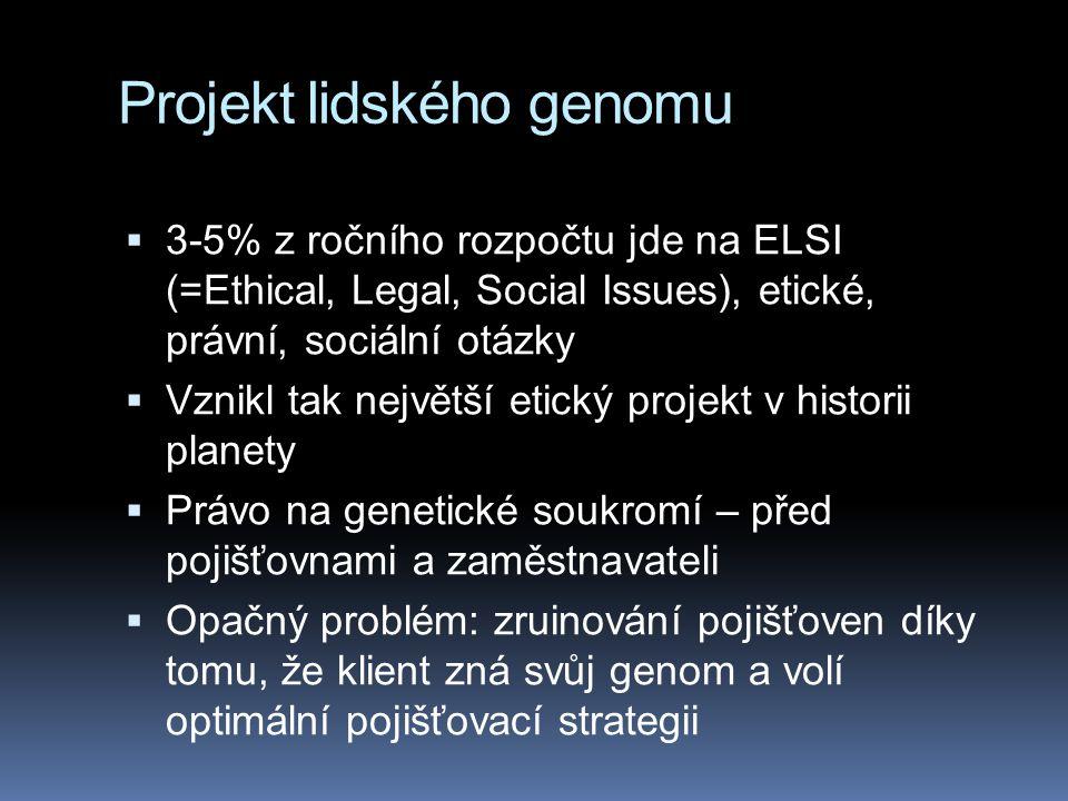 Projekt lidského genomu  3-5% z ročního rozpočtu jde na ELSI (=Ethical, Legal, Social Issues), etické, právní, sociální otázky  Vznikl tak největší