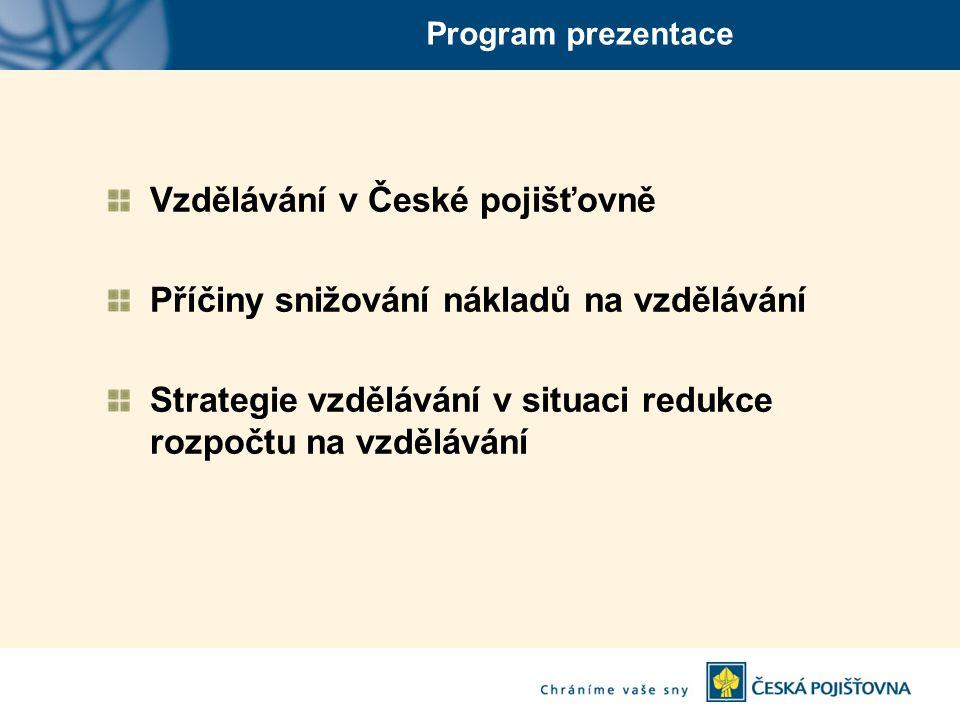 Program prezentace Vzdělávání v České pojišťovně Příčiny snižování nákladů na vzdělávání Strategie vzdělávání v situaci redukce rozpočtu na vzdělávání