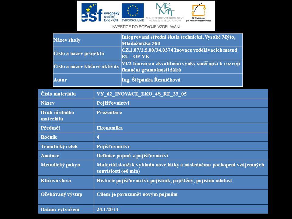 Číslo materiáluVY_62_INOVACE_EKO_4S_RE_33_05 NázevPojišťovnictví Druh učebního materiálu Prezentace PředmětEkonomika Ročník4 Tématický celekPojišťovnictví AnotaceDefinice pojmů z pojišťovnictví Metodický pokynMateriál slouží k výkladu nové látky a následnému pochopení vzájemných souvislostí (40 min) Klíčová slovaHistorie pojišťovnictví, pojistník, pojištěný, pojistná událost Očekávaný výstupCílem je porozumět novým pojmům Datum vytvoření24.1.2014 Název školy Integrovaná střední škola technická, Vysoké Mýto, Mládežnická 380 Číslo a název projektu CZ.1.07/1.5.00/34.0374 Inovace vzdělávacích metod EU - OP VK Číslo a název klíčové aktivity VI/2 Inovace a zkvalitnění výuky směřující k rozvoji finanční gramotnosti žáků AutorIng.