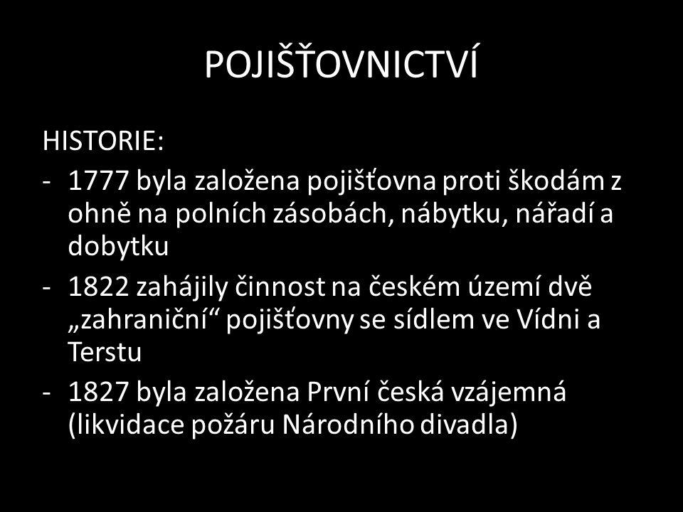 """POJIŠŤOVNICTVÍ HISTORIE: -1777 byla založena pojišťovna proti škodám z ohně na polních zásobách, nábytku, nářadí a dobytku -1822 zahájily činnost na českém území dvě """"zahraniční pojišťovny se sídlem ve Vídni a Terstu -1827 byla založena První česká vzájemná (likvidace požáru Národního divadla)"""