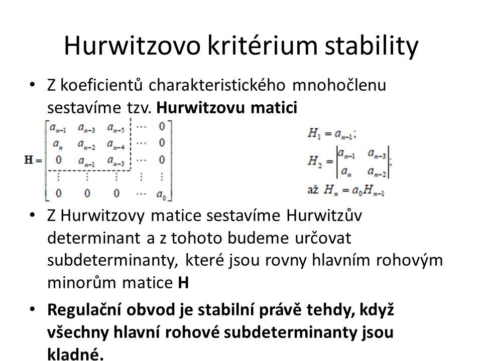 Hurwitzovo kritérium stability Z koeficientů charakteristického mnohočlenu sestavíme tzv. Hurwitzovu matici Z Hurwitzovy matice sestavíme Hurwitzův de