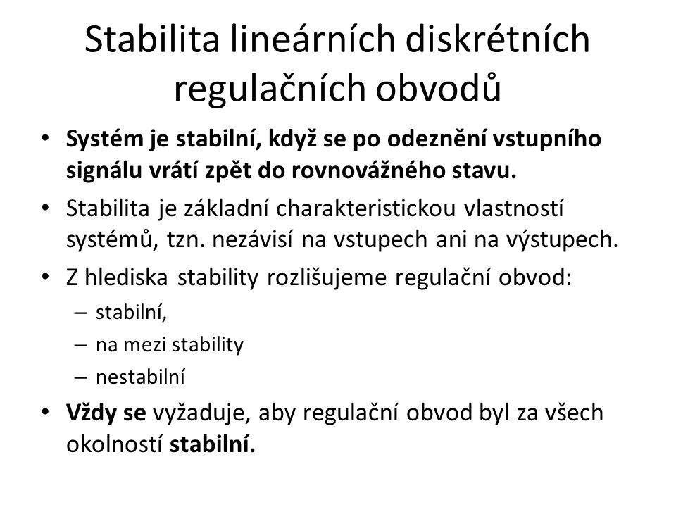 Stabilita lineárních diskrétních regulačních obvodů Systém je stabilní, když se po odeznění vstupního signálu vrátí zpět do rovnovážného stavu.