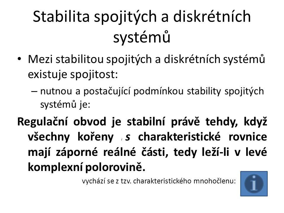 Stabilita spojitých a diskrétních systémů Mezi stabilitou spojitých a diskrétních systémů existuje spojitost: – nutnou a postačující podmínkou stabili