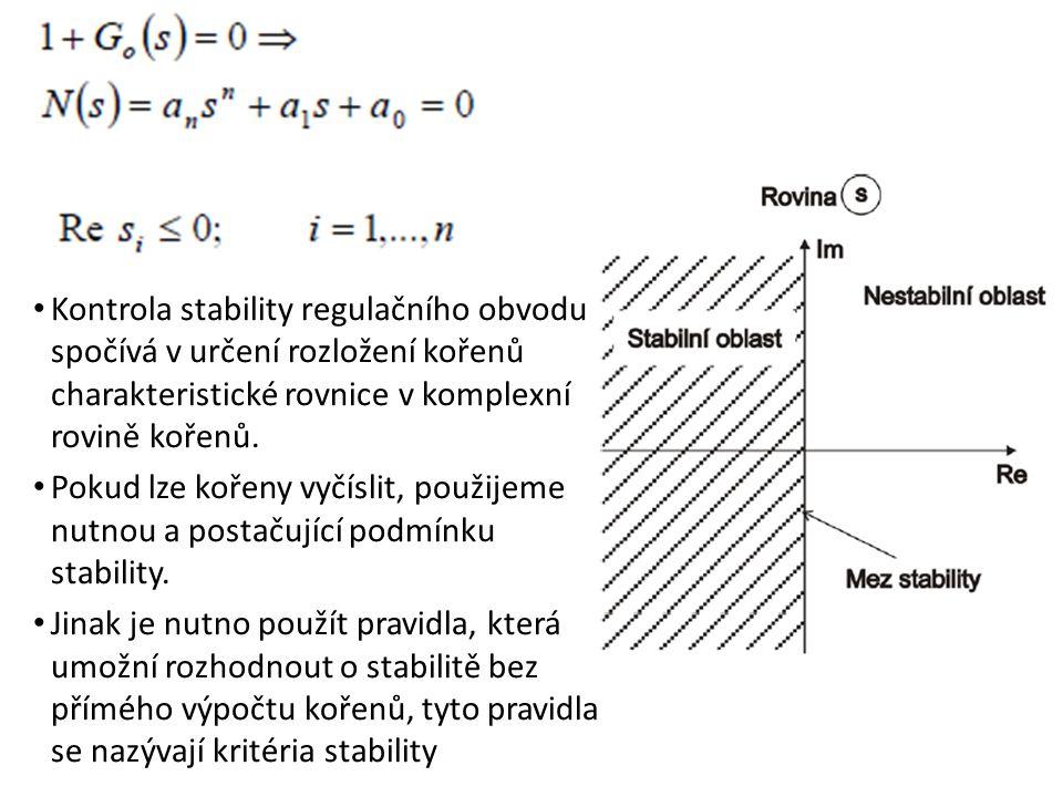 Kontrola stability regulačního obvodu spočívá v určení rozložení kořenů charakteristické rovnice v komplexní rovině kořenů.