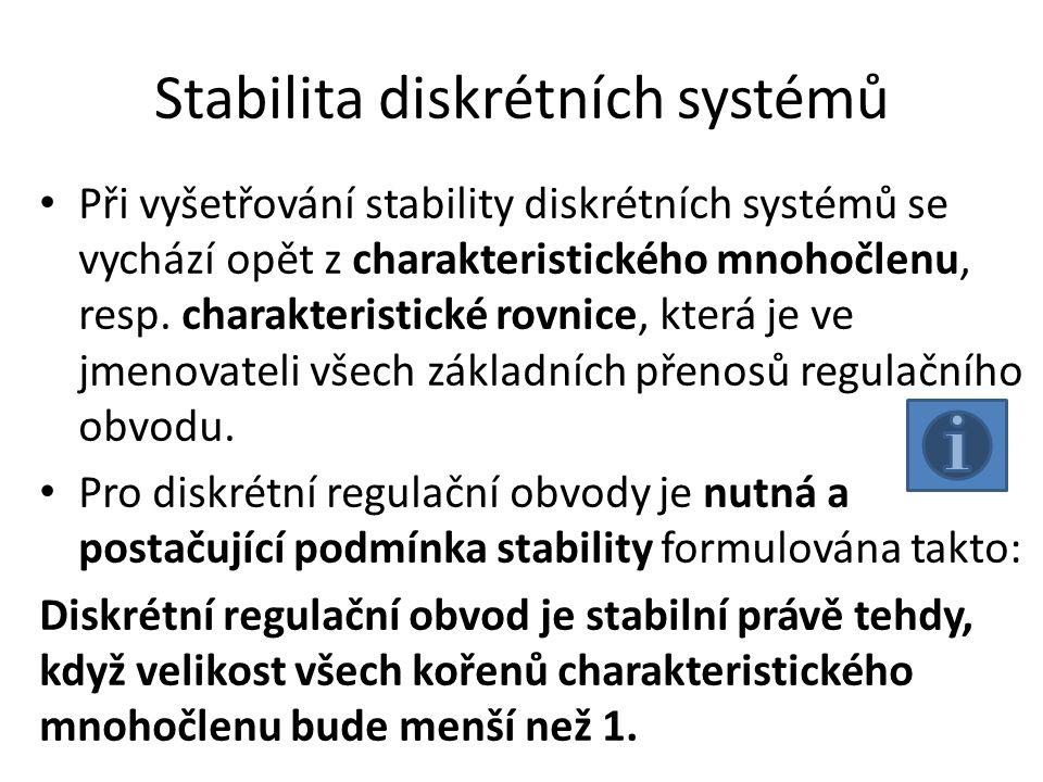 Stabilita diskrétních systémů Při vyšetřování stability diskrétních systémů se vychází opět z charakteristického mnohočlenu, resp. charakteristické ro