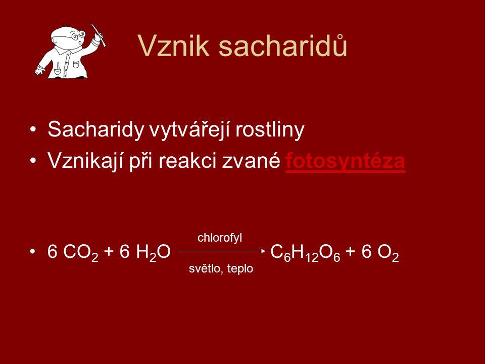 Vznik sacharidů Sacharidy vytvářejí rostliny Vznikají při reakci zvané fotosyntéza 6 CO 2 + 6 H 2 O C 6 H 12 O 6 + 6 O 2 chlorofyl světlo, teplo