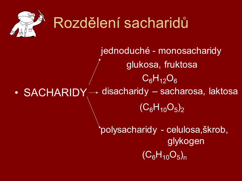 Rozdělení sacharidů jednoduché - monosacharidy glukosa, fruktosa C 6 H 12 O 6 SACHARIDY (C 6 H 10 O 5 ) 2 polysacharidy - celulosa,škrob, glykogen (C