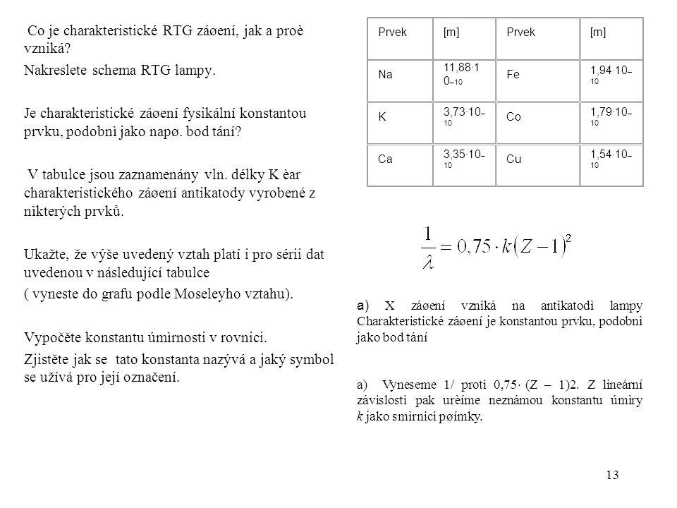 13 Co je charakteristické RTG záøení, jak a proè vzniká? Nakreslete schema RTG lampy. Je charakteristické záøení fysikální konstantou prvku, podobnì j