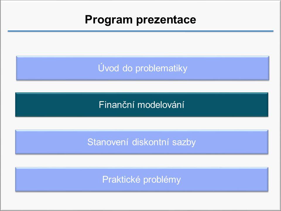Program prezentace Praktické problémy Stanovení diskontní sazby Úvod do problematiky Finanční modelování