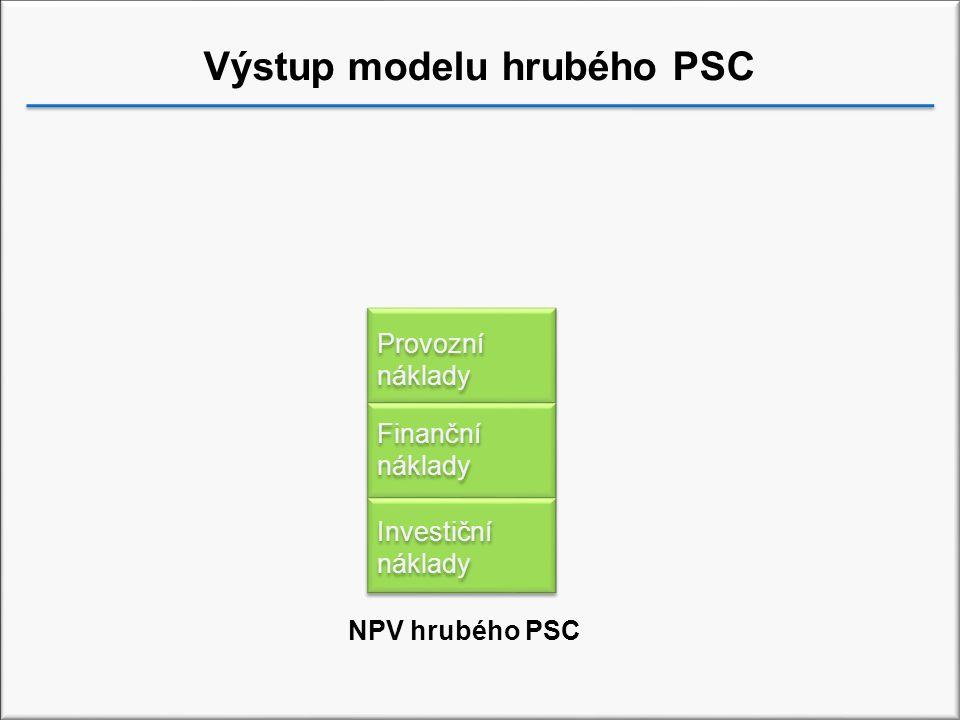 Výstup modelu hrubého PSC Investiční náklady Finanční náklady Provozní náklady NPV hrubého PSC