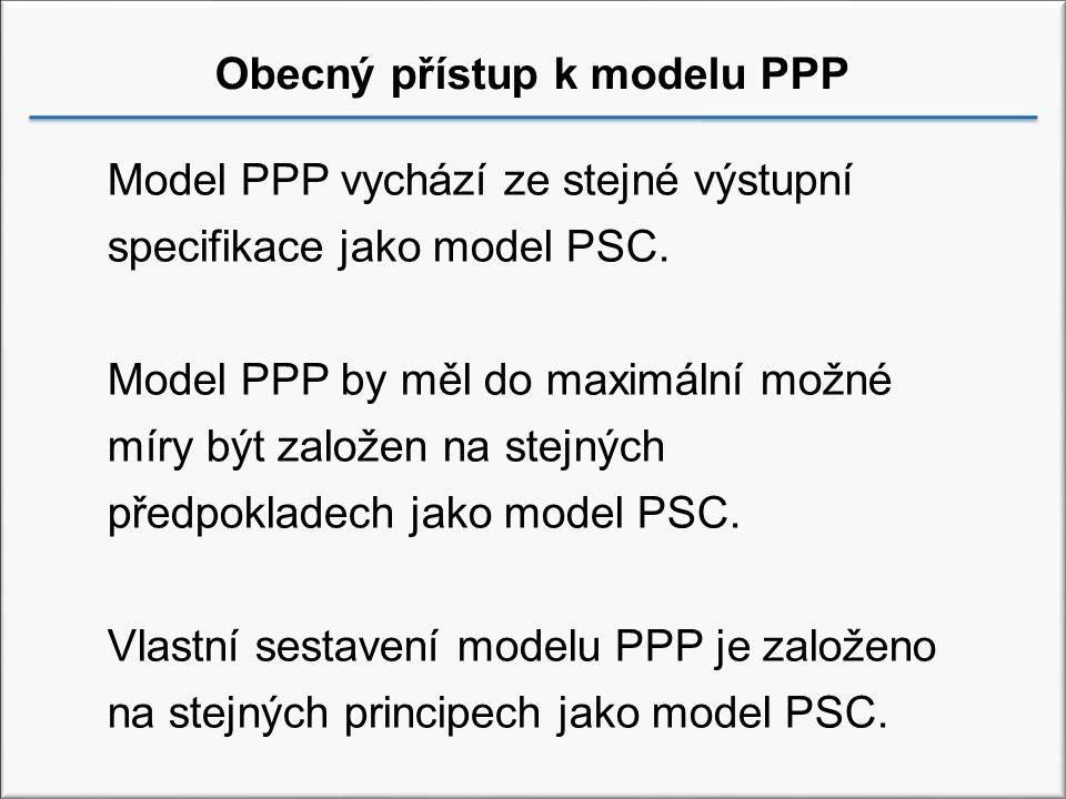 Obecný přístup k modelu PPP Model PPP vychází ze stejné výstupní specifikace jako model PSC.